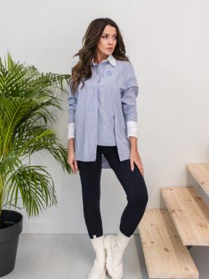 bawełniana koszula ANETTE w niebiesko białe paseczki