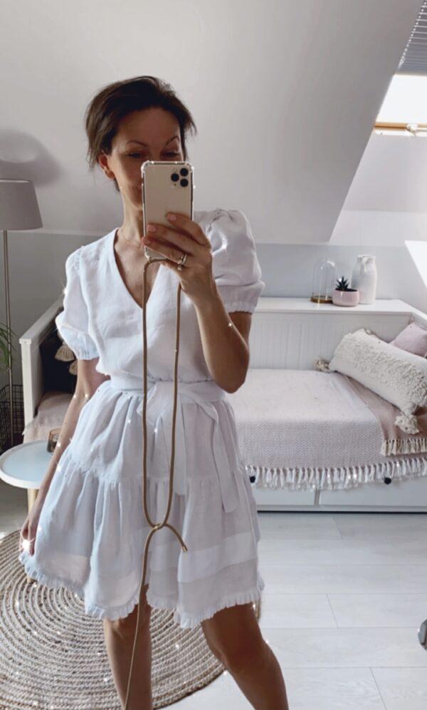 zbliżenia biała sukienka mini NUSA
