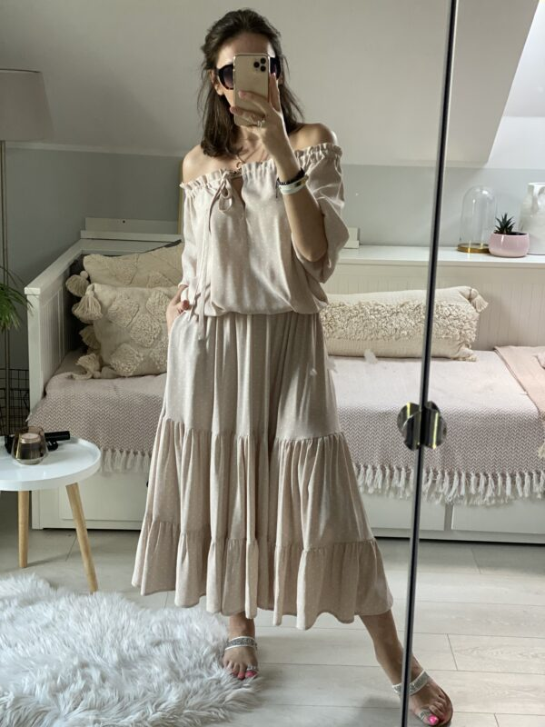 sukienka boho midi nude w kropki