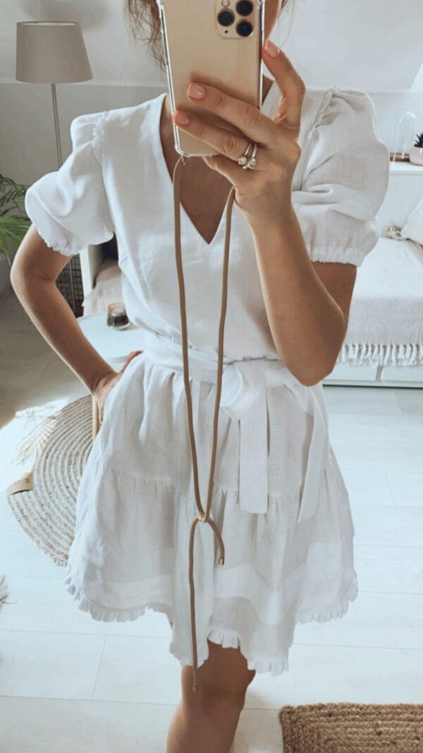 Sukienka mini lniana biała